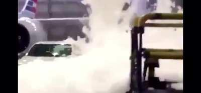 The foam fire-suppression system at an American Airlines hangar malfunctioned. (May 16, 2020)