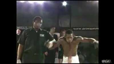MMA fighter throws up blood after winning