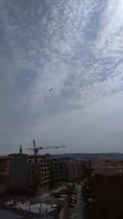 Israeli warplanes flying at low altitude in Saida, Lebanon.