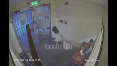 CCTV footage of a shooting that took place in Oakland, CA last Friday. The shooting left a woman dead and a man wounded. The woman reportedly died from a gunshot wound to the abdomen. However, she was not believed to be the main target of the shooting and
