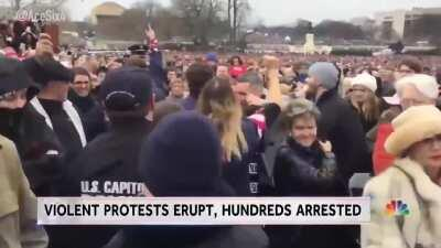 [January 2017] Liberal pro-Hillary supporters siege the US Capitol during and leading up to the inauguration of conservative president Trump