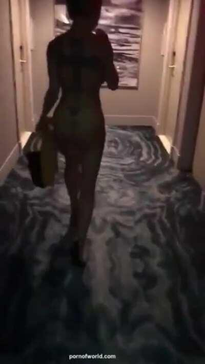 Busty Blonde Removes Dress In Hotel Hallway