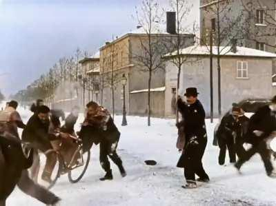 Snowball fight 124 years ago. Lyon, France, 1896. Colorized and speed adjusted. Original in black and white by Louis Lumiere.