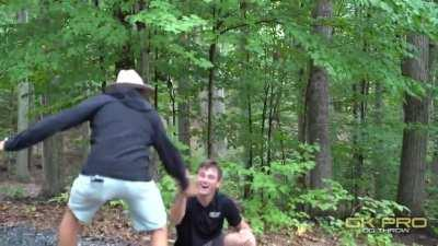 Disc golfer slips, 530ft hole