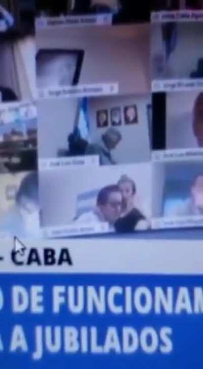 Argentine national deputy touching a woman during a virtual session of the Congress