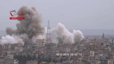 SAA Barrel Bomb lands in the Masaken Hanano neighborhood of Aleppo - 02/10/2015
