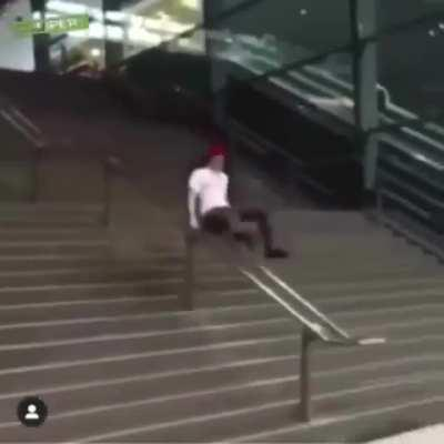 Sliding through the stairs