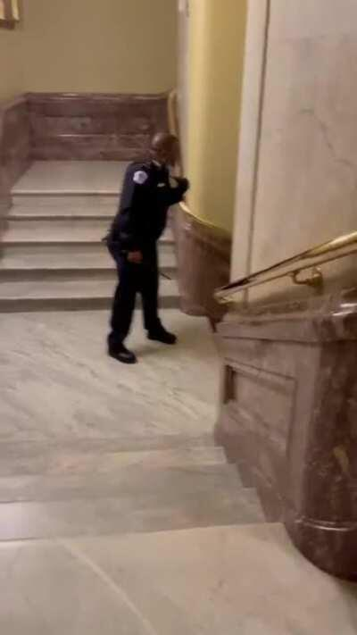 Violent Trump supporters Chase Capital police officer through Capitol building.