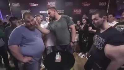 Synthol man has the Synthol slapped outta him.