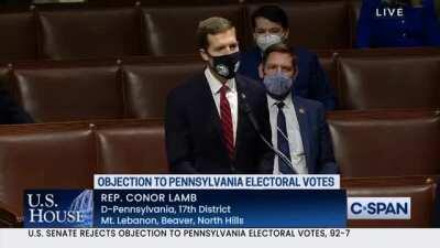 Rep Conor Lamb (D) triggers a seditious snowflake into fleeing the House floor in anger by identifying Republican rationale for overthrowing the election as unfounded lies and fake concern.