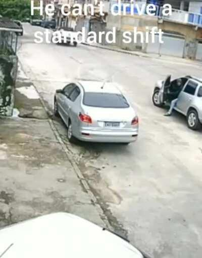 Attempts to carjack but couldn't drive manual