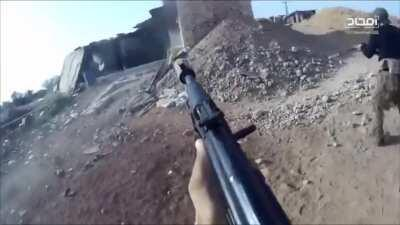 """HTS """"Elite Forces"""" infiltrate loyalist militia positions, killing 2 militiamen at very close range with suppressed rifles & grenades - Northern Aleppo Countryside (September 2017)"""