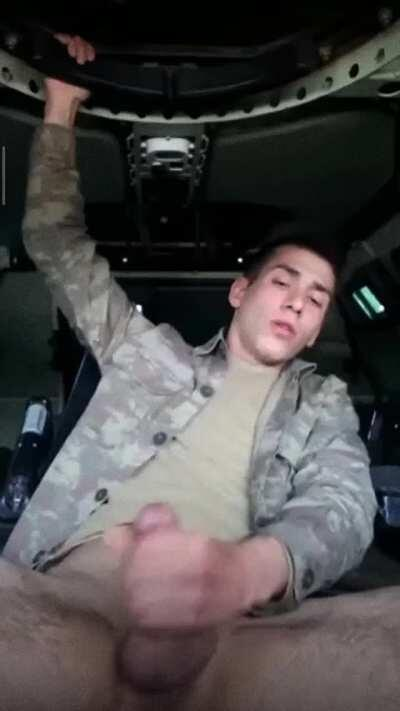 Turkish solider sneaks off to bust a nut while on duty
