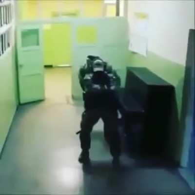 SWAT clearing the building