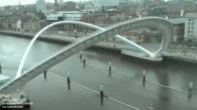 The Gateshead Millennium Bridge aka the Winking Eye Bridge. A tilt bridge in Gateshead, United Kingdom