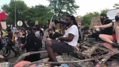 A Protest in Detroit blasting a Dirtybird track with a new chant. Original track is