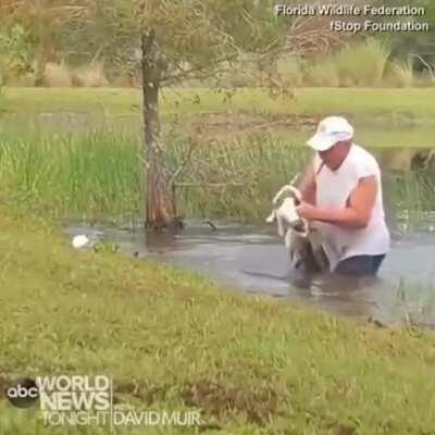 74 y/o Florida man saving his 3 m/o puppy without losing his cigar