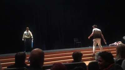 Two guys at my school did a reenactment of the Anakin vs Obiwan duel for the talent show