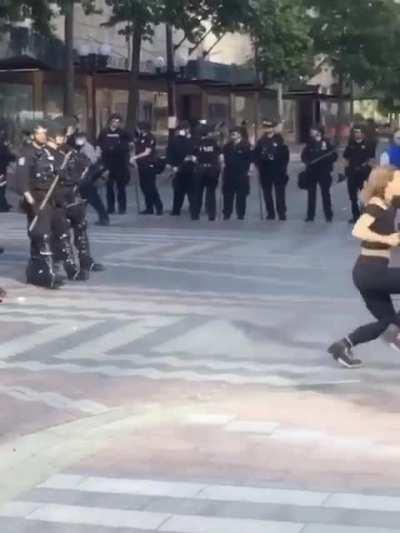 Seattle protester dancing and being arrested