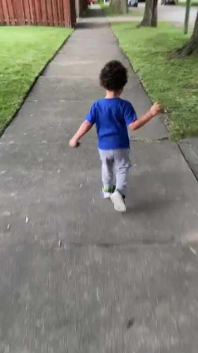 """""""I'm gonna gotcha!"""" Chasing my son."""