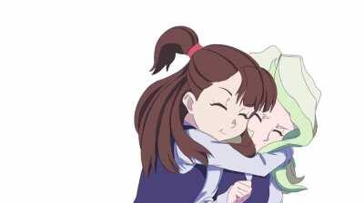 Akko Hugging Diana [Little Witch Academia]