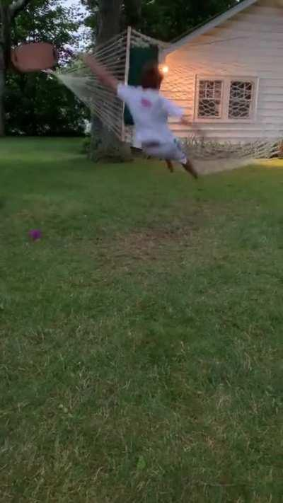 Jumping onto hammock from swing.