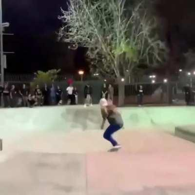 Leticia Bufoni, jumping over Nyjah Houston