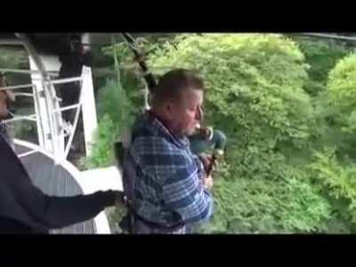 Bagpipe bungee jump