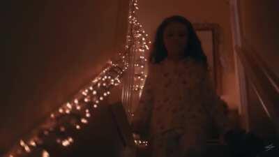 Little girl meets Santa