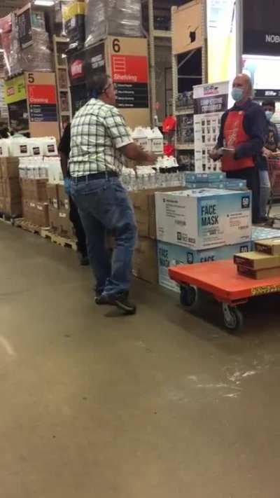 Home Depot Seven Corners-guy refuses to wear a mask. Stay safe out there.