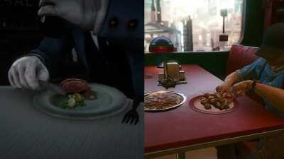 Comparing NPC eating animations in RDR2 & Cyberpunk 2077