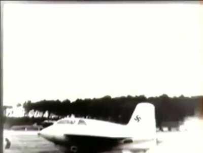 Test flight of a Messerschmitt Me-163 Komet, note the early GoPro model on the pilot's head. Peenemunde, July 1943.