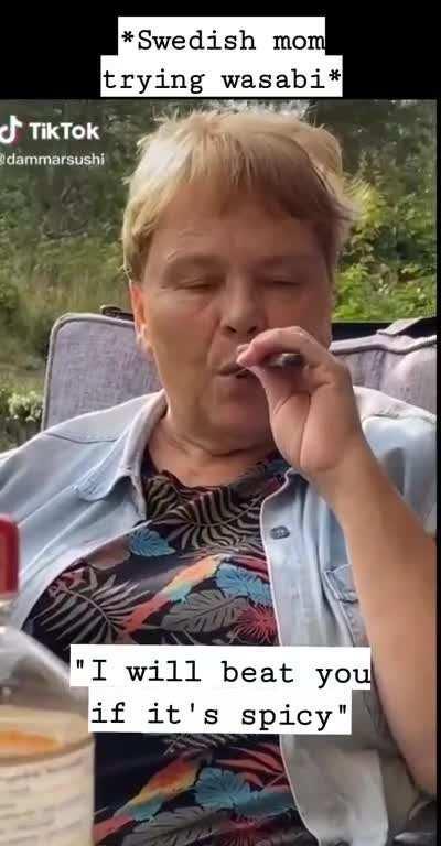 Swedish mom trying wasabi