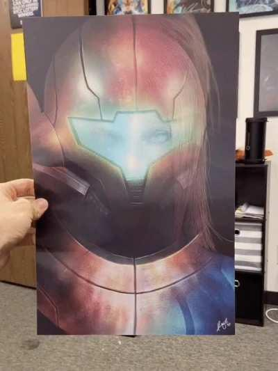 Super Smash Bros (Samus) Fan Artwork - 3D Construct Lenticular Hand Drawn Produced Print