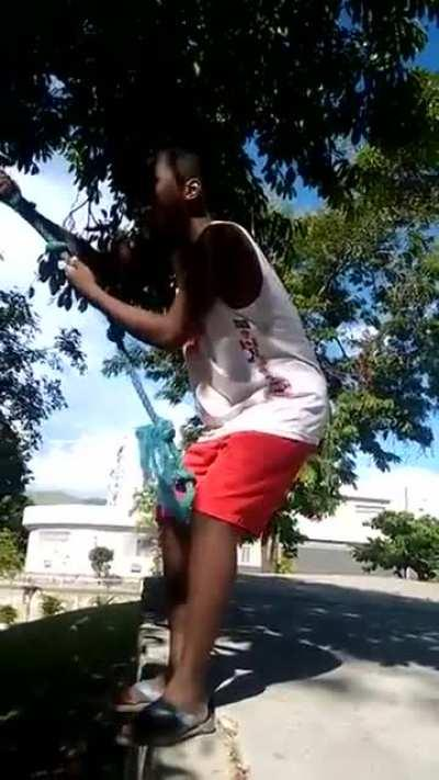 Jump from a tree using a rope.