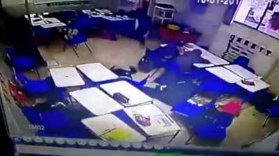 (WARNING: GRAPHIC AND DISTURBING) CCTV Footage of a 12 year old opening fire on his class in Monterrey, Mexico in 2017 2 Died (Including the shooter) and 3 injured