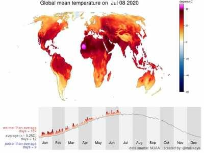 Summary of average daily temperatures around the world in 2020 [OC]