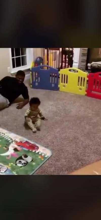Father and Son have a breakdancing contest.