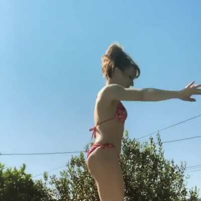 Ruth Connell (Supernatural) on a trampoline
