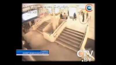 Minsk metro bombing CCTV video, the explosion left 15 people dead and over 200 wounded, the perpetrators Dzimitry Kanavalau and Vlad Kavalyou are suspected of executing other bombings like the 2008 Minsk bombing and the 2005 Vitebsk bombing. Both perpetra