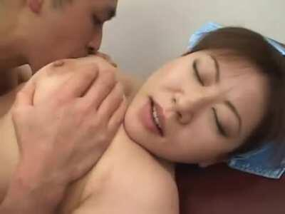 Grabbing Pretty Asian Nurse Momoko's Nice Big Tits and Sucking On Them During Sex