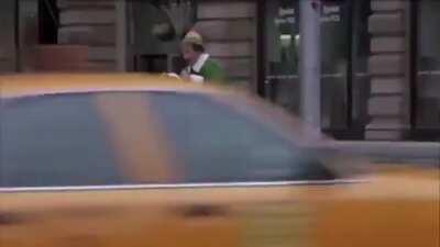 Buddy Discovers New York scene from elf speed run.