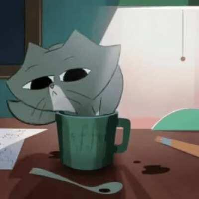 Animated cat goes in coffee cup