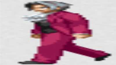 Wide Miles Edgeworth walking for 2 minutes and 40 seconds