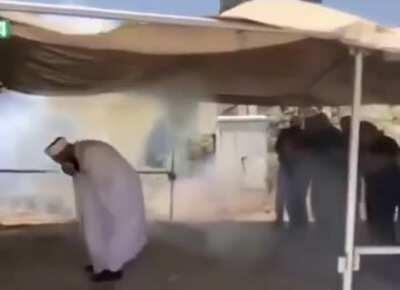 "Israeli ""soldiers""(clowns) shooting teargas at people praying"