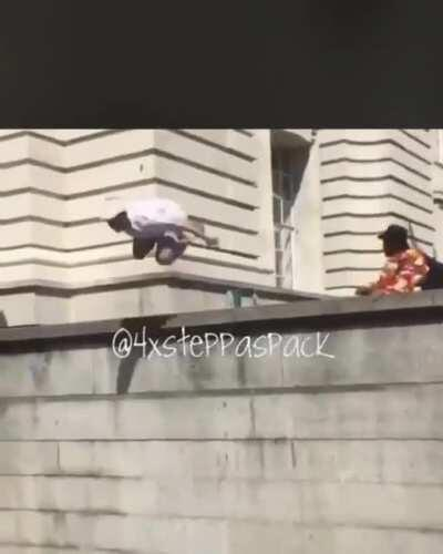 WCGW jumping off this ledge.