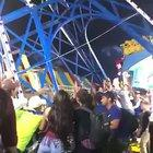 Ride almost falls over, people step in