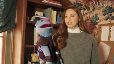 Karen Gillan shows off her nebula puppet