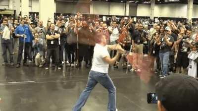 Ray Park (Darth Maul) giving con fans an impromptu show.