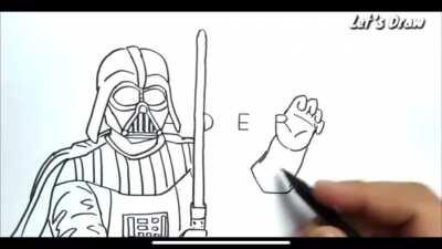 The way he turns VADER into Vader. By YouTuber: Let's Draw